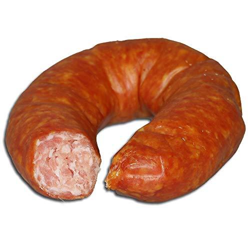 Knoblauchwurst - Fleischerei Robert Kriewitz | Rohwurst, Dauerwurst, Fleischwurst | ähnlich einer Sucuk, mittelfein gekörnt | 300g