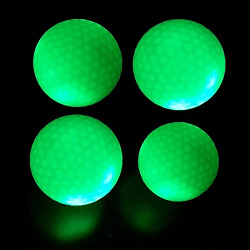 crestgolf blinkende Leuchtender Golfball - Grün, Night Glow Flash-Light LED Golf Ball, 4 Stück