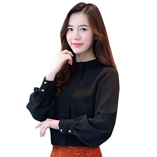 (BHYDRY Frauen Kurze Büro Arbeitskleidung Stehen Hals Chiffon Shirts Langarm Casual Tops (L,Schwarz))