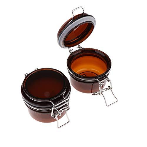 B Baosity 2pcs Braunglas Versiegelte Dosen Behälter Topf Kosmetikflasche Behälter Topf Maske Verriegelung Deckel Rund Maske Jar
