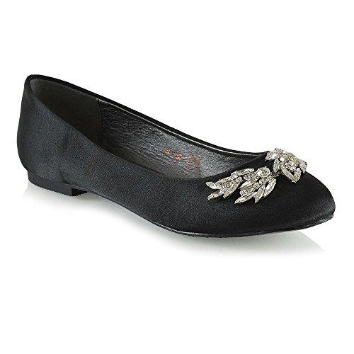 ESSEX GLAM Damen Schlüpfen Braut Ballerinas Frau Schwarz Satin Diamant Schuhe EU 38