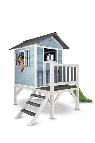 Beauty.Scouts Holzspielhaus Sun XL mit Leiter + Rutsche 168x261x189cm aus Holz in blau-weiß Kinder Kinderspielhaus Holzhaus Stelzenhaus Liebe zum Detail