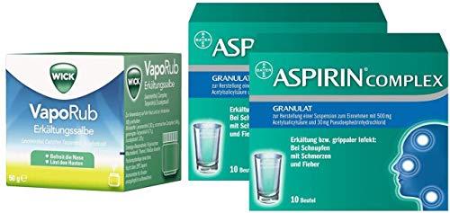 Erkältung Aspirin (Sparset Erkältung Wick VapoRub 50 g Erkältungssalbe + Aspirin Complex 2 x 10 Beutel)