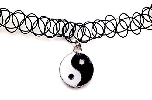 Yin Yang Colgante Collar de Gargantilla de tatuaje elástico negro Vintage Retro 80s 90s elástico de diseño de Henna