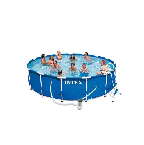 Intex Frame Pool Set Rondo III Kartuschenfilter 3.800 l/h, Leiter, Abdeckplane, Bodenschutzplane, 457 x 122 cm, 54946