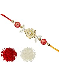 Aheli Fancy White Rose White Leag With AD Red Bead Rakhi With Roli Chawal Tilak For Men Boys (Golden) (R22516B)