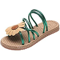 Hunpta Frauen Blumen Flip Sandalen Schuhe Komfort Sommer Flops Mode flache Sandalen (38, Grün)