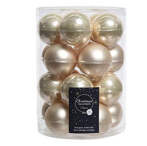 20palle di natale in vetro 6cm perle champagne opal/matt palle di natale