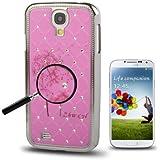 Rocina Strass HardCase Luxus Backcover Schutzhülle für Samsung i9500 Galaxy S4 Pusteblume pink