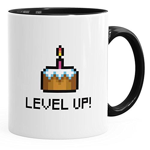 MoonWorks Geschenk-Tasse Geburtstag Level up Pixel-Torte Retro Gamer Pixelgrafik Arcade Schwarz Unisize