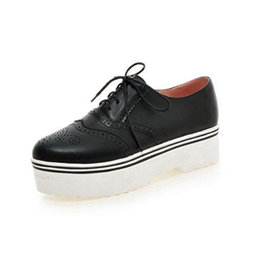 Bombas Pretos Pé Calcanhar Senhoras Do Rendas Voguezone009 Sapatos Pura Dedo Baixa Redondo PrPqSHw