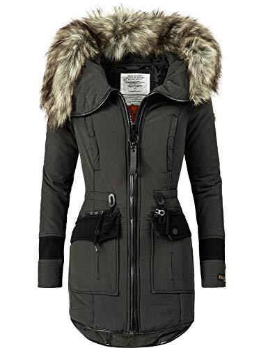 khujo Damen Wintermantel Winterparka mit Kapuze Retro Bugs Schwarz018 Gr. L (Mantel Jacke Gesteppte)