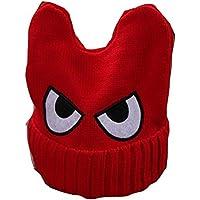 Cute Big Eyed niños tejidos a mano Resil invierno sombrero suave bebé caliente Cap, rojo