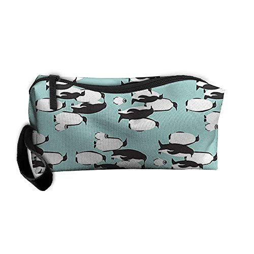 Cosmetic Bags Brush Pouch Makeup Bag Mint Penguin3 Zipper Wallet Hangbag Carry Case Pen Organizer Wristlet Holder makeup kit bag (Cream Shaving Mint)