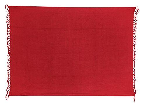 Sarong Pareo Dhoti Lunghi ca. 170cm x 110cm Rot Einfarbig Handgefertigt und Kokosnuss Schnalle im Runden Design