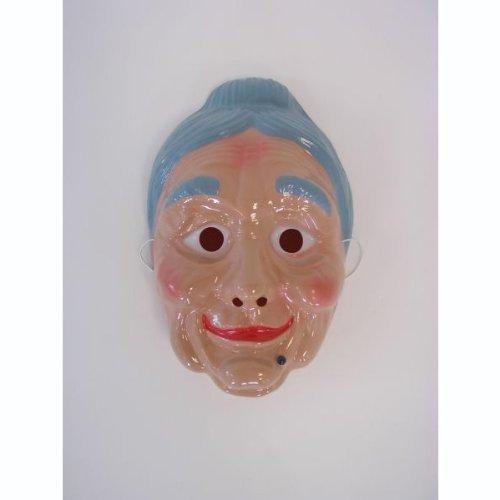 Maske Theatermaske Gesichtsmaske alte Frau haut-blau Einheitsgröße