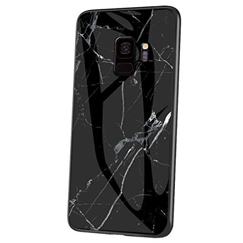 Herbests Kompatibel mit Samsung Galaxy S9 Hülle Gehärtetes Glas Rückseite + Silikon Bumper Handyhülle Marmor Muster Kratzfeste Hardcase Schutzhülle Stoßfest Hybrid Hülle,Schwarz