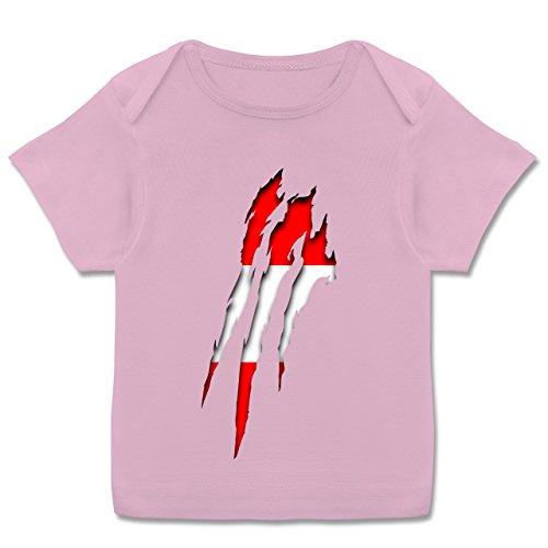 Städte & Länder Baby - Österreich Krallenspuren - 68-74 (9 Monate) - Rosa - E110B - Kurzarm Baby-Shirt für Jungen und Mädchen