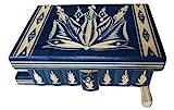 Nuova bella magia di legno misteriosa scatola segreta mano difficile scatola intagliata (Blu)