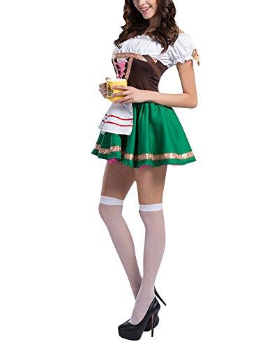 Tedesca Oktoberfest Bavarese Birra Cosplay Costumi Halloween Donna Verde M
