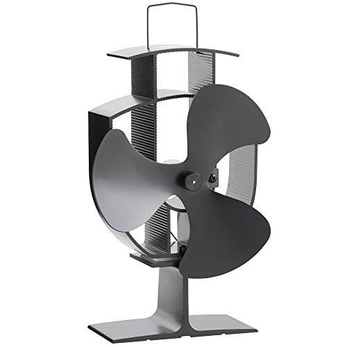 VonHaus Ventilateur pour Poêle à Bois/Granulés 3 Pales – Acier Noir