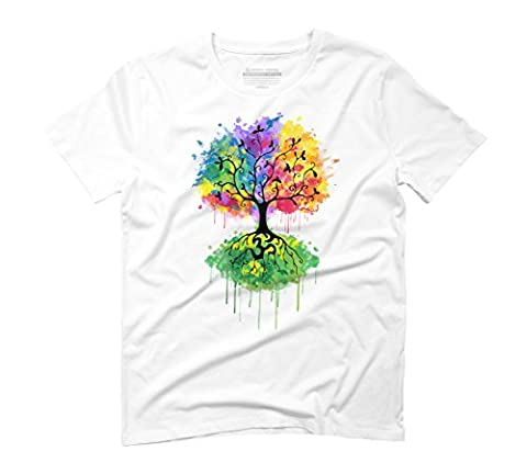 Ohm Tree Men's Large White Graphic T-Shirt - Design By Humans