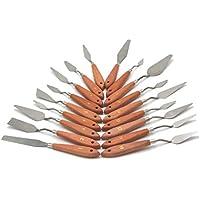 MALSPACHTEL – PROFI-SET mit 18 verschiedenen Formen und Größen, mit Edelstahl-Klinge + Buchenholzgriff, Malmesser, Palettmesser