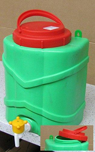 Wasserkanister mit Hahn Waschtisch Garten tragbar stellbar aufhängbar XXL Handwascher mit Deckel Füllvermögen: 9 Liter - breite Einfüllöffnung - Behälter Kanister mit Hahn für Garten 522