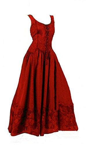 Dark Dreams Kleid Mittelalter Gothic Schnürung Audry schwarz rot grün braun weiß 36 38 40 42 44 46, Farbe:rot, Größe:S/M