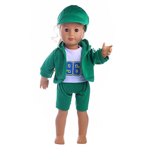 Lernspielzeug Spielzeug für Mädchen DIY Dress Up Rock ärmellose Kleine Puppe Cosplay JYJMHut & T-Shirt & Mantel & Hose für 18 Zoll unsere Generation American Girl & Boy Doll (Größe: 37X26X32CM, Armee-Grün,) (18-zoll-puppe T-shirt)
