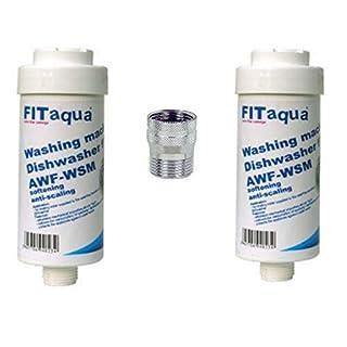 Fit aqua AC-WSM AM-Set-II 2X Kalkfilter Spülmaschine/Waschmaschinenfilter Aquastop, Weiß Oder Grau, 2 Stück