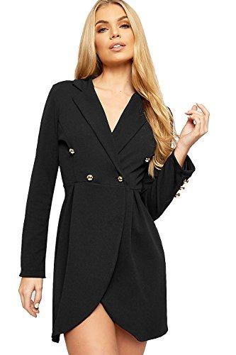 WEARALL - Damen Lang Hülle Schaltfläche Doppelt Breasted Strickjacke Top Jacke Damen Blazer - Schwarz - 36-38 (Lange Sakkos Damen)
