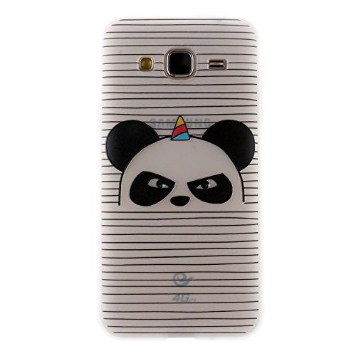 Samsung Galaxy J3 2016 Hülle, BONROY® Painting Pattern Silicone Case für Samsung Galaxy J3 (2016) DUOS 5,0 Zoll (12,63 cm), Ultra Slim TPU Silikon Bumper Schale Back Cover Anti-Scratch Telefon-Kasten Handycover Protective Bumper für Samsung Galaxy J3 (2016) DUOS 5,0 Zoll (12,63 cm) - Panda