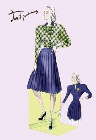 Feelingathome-Leinwand-Bild-Plissee-Kleid-mit-karierte-Jacke,-1947-cm50x33-Kunstdruck-auf-Leinwand