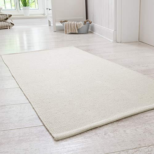 Onloom Alfombra Milo Tejida a Mano, 100% algodón, Lavable a 30°C, Farbe:Beige, Größe:60 x 160 cm