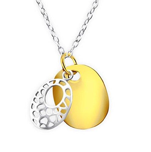 Motif Collier ovale - Argent Sterling 925-45 cm/45 cm - Pendentif plaqué or et argent - Coffret cadeau inclus - La Rose & Silver Company - Rs0425
