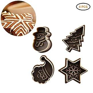 KENANLAN – Juego de 4 moldes cortadores de galletas para decoración de tartas de Navidad