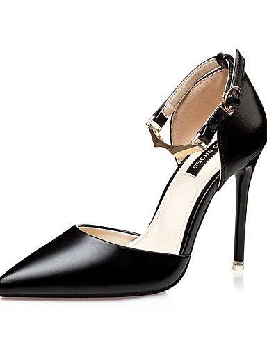 WSS 2016 Chaussures Femme-Habillé-Noir / Rose / Argent / Or-Talon Aiguille-Talons / Bout Pointu / Bout Fermé-Talons-Similicuir black-us5 / eu35 / uk3 / cn34