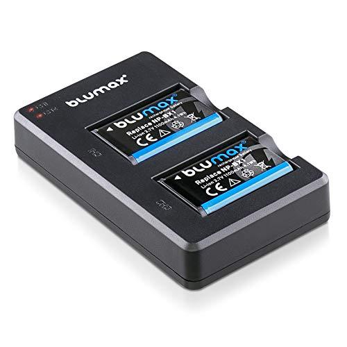 Blumax 2X Akku 1100mAh ersetzt Sony NP-BX1 + Mini Dual-Ladegerät USB - kompatibel mit Sony Cyber-Shot DSC-RX100, DSC-RX100 II, DSC-RX100M II, DSC-RX100 III, DSC-RX100 V, DSC-RX100 IV, HDR-CX405 UVM.