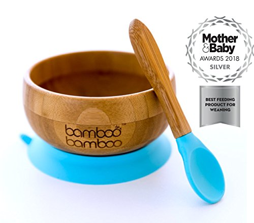 Baby Suction Bowl and Matching Spoon Set, Suction Stay Put Feeding Bowl, Natural Bamboo (Blue)