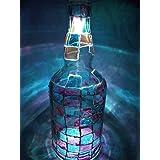 Pink And Light Blue Hand Painted Designer Glass Vase/Bottle With Multicolor Light