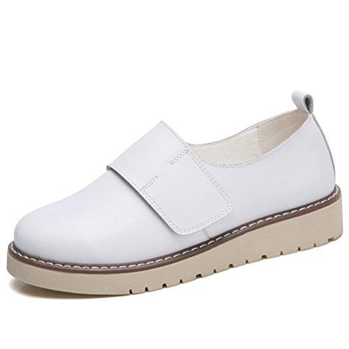 Plateforme Mocassins Blanc Jrenok Femme Chaussures De Derbies Confortable  40 Sneakers Ville Casual Marcher Mode Cuir ... 76c4af3a4f2a