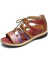 gracosy Sandalias Cuero Planas Verano Mujer Estilo Bohemia Zapatos para Mujer de Dedo Sandalias Talla Grande