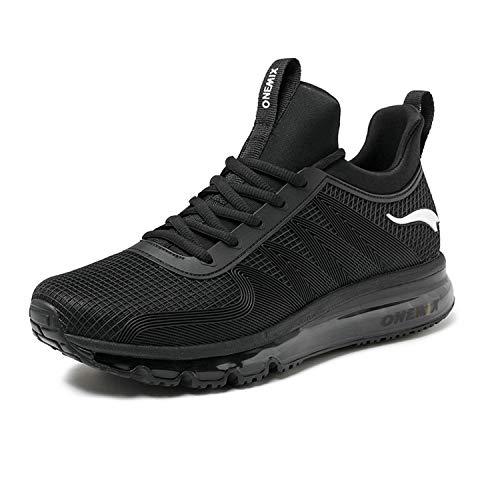onemix Air Laufschuhe Turnschuhe Herren Fitness Schuhe mit Luftpolster Sportschuhe Sneaker Schwarz 44 EU