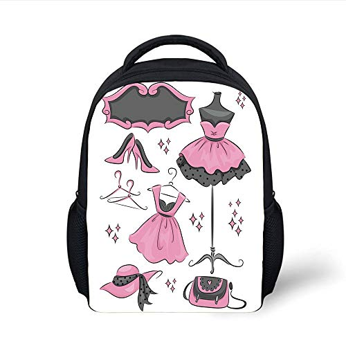 Kids School Backpack Heels and Dresses,Boutique Inspired Design Stylish Dresses Hangers Cartoon Style Decorative,Grey Baby Pink White Plain Bookbag Travel Daypack -