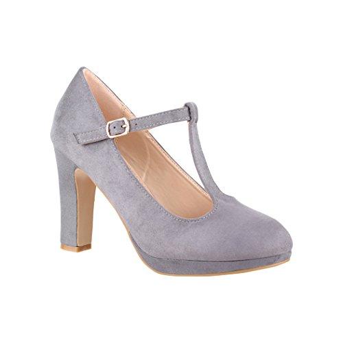 Elara Damen High Heels | Bequeme T-Spangen Pumps | Riemchen Vintage | Chunkyrayan | 4685-Grey-36