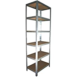 shelfplaza® HOME Étagère charge lourde métallique galvanisé de 180x60x50 cm avec 6 tablettes - entrepôts garage grenier atelier maison
