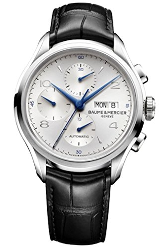 Baume & Mercier Clifton Herren Automatik Uhr mit Silber Zifferblatt Chronograph-Anzeige und schwarz Lederband m0a10123