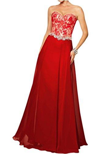Victory Bridal Elegant Damen Festliche Abendkleider Ballkleider Lang Mit Spitze Herzenform Ausschnitt Rot