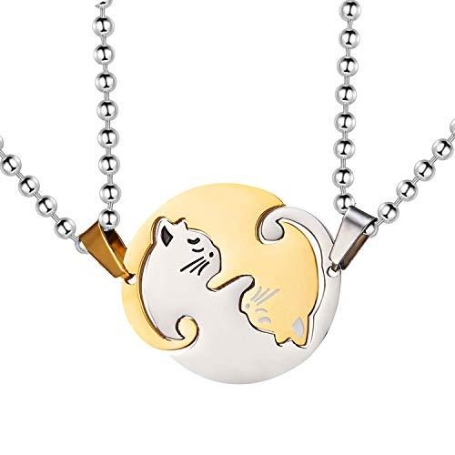 Uloveido Titan Edelstahl Halloween Halskette, Paar Puzzle passende Katze Halskette für Frauen und Männer, Seine und ihre Schwarze und weiße Katze Anhänger Halskette SN156 (Gold)